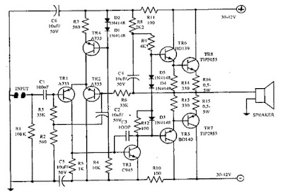 OCL 150 watt power amplifier circuit diagram