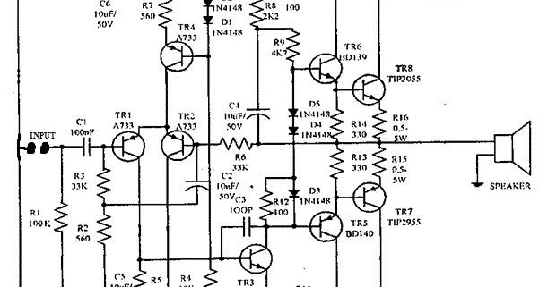 eletr u00f4nica campo el u00e9trico   esquema completo amplificador 150w com tip3055 e 2955