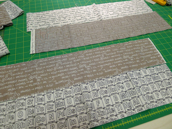 Pieces by polly simple chemistry quilt pair up a periodic table strip with the opposite color equations strip youll have triples of each set make sure to alternate which is on top and which is urtaz Choice Image