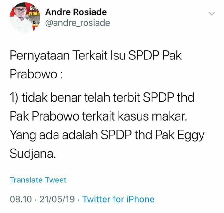 Viral Surat Penyidikan untuk Prabowo, Ini Klarifikasi BPN