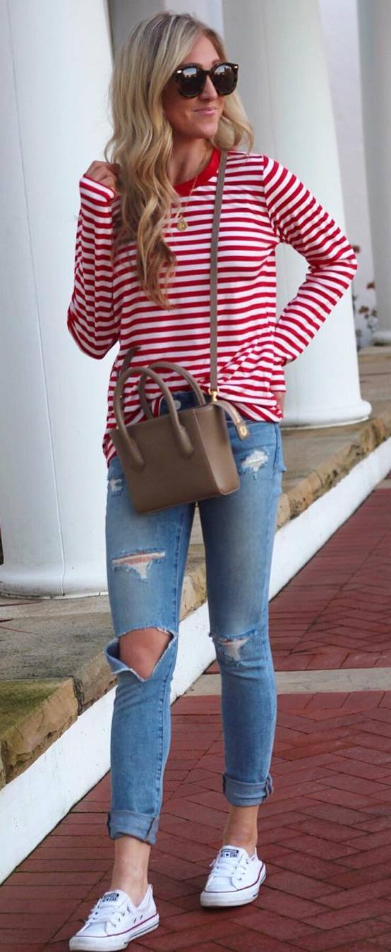 casual style obsession top plus bag + rips