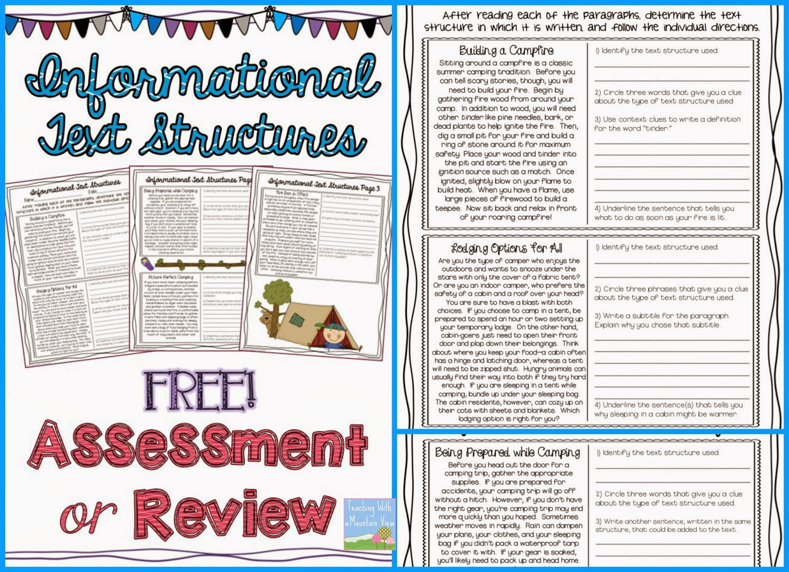 Printables Text Structure Worksheets 5th Grade teaching with a mountain view informational text structures
