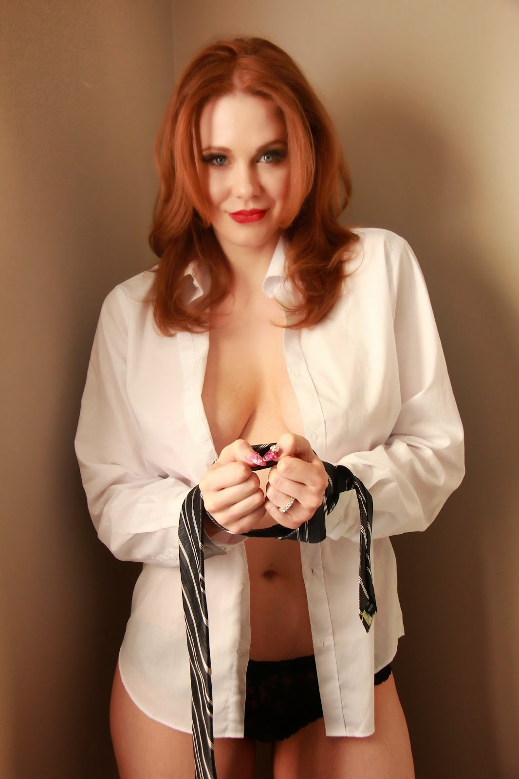 Maitland Ward - sexy white blouse and tie - Satin Lite House
