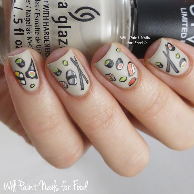 Yummy sushi nail art