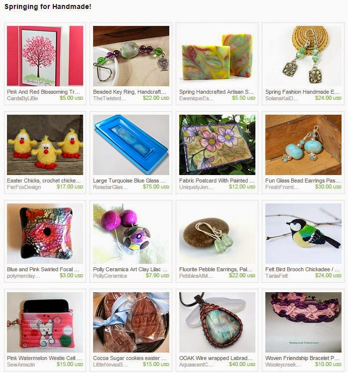 Springing for Handmade! treasury by 2GlassThumbs on Etsy