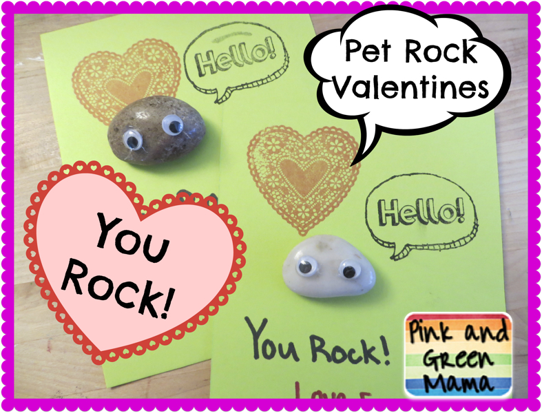 Pink and Green Mama Pet Rock Valentines Homemade Valentine Cards – Valentines Cards for School