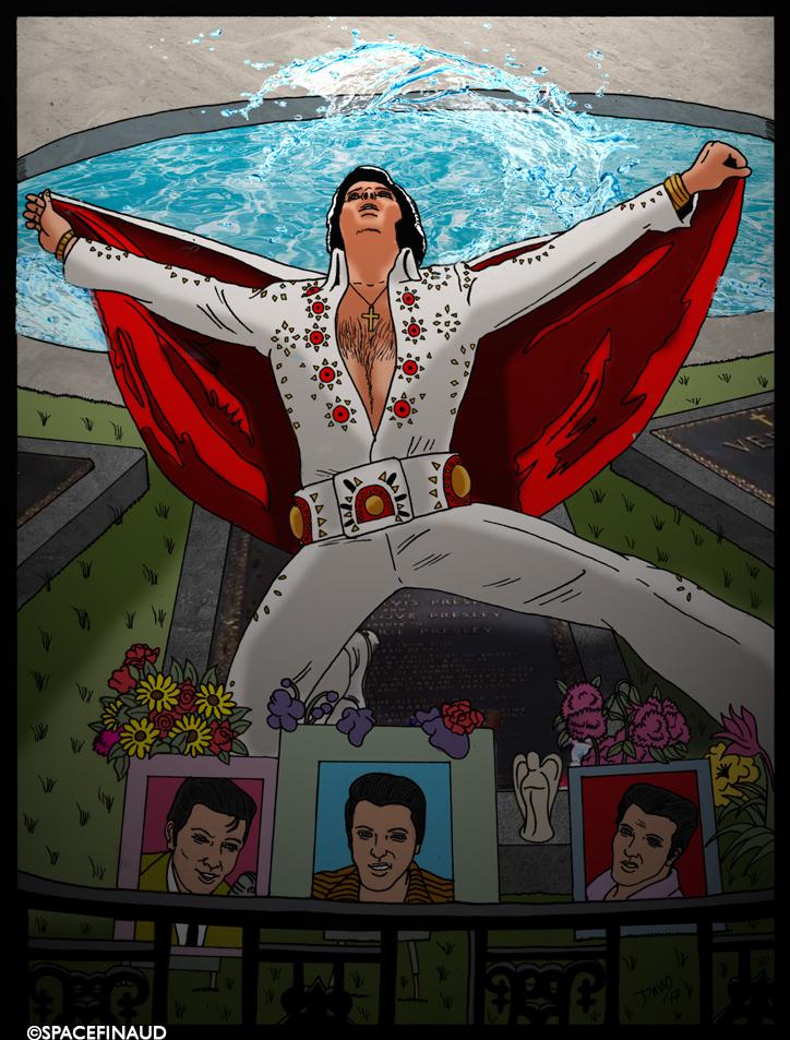 Pour les 40 ans de la disparition du King, un p'tit dessin hommage.