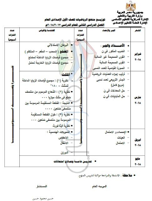 توزيع منهج الرياضيات للصف الأول الإعدادي الترم الثاني 2018