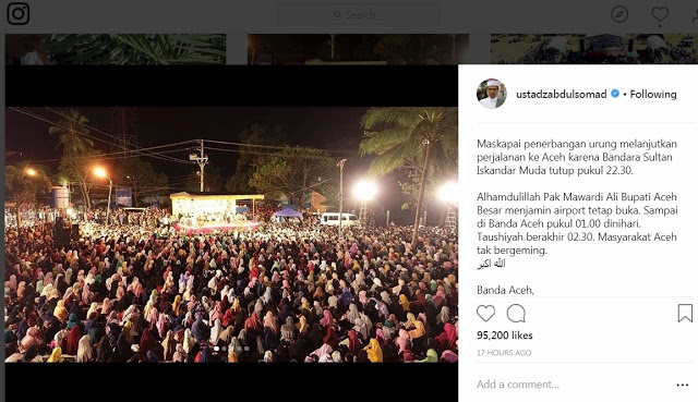 Subhanallah... Walau Sampai Dinihari, Ribuan Warga Aceh Tak Bergeming Menunggu Ustad Abdul Somad