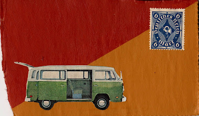 VW Volkswagen bus German postage stamp flag Fluxus dada collage reminders of my father's hippy influence