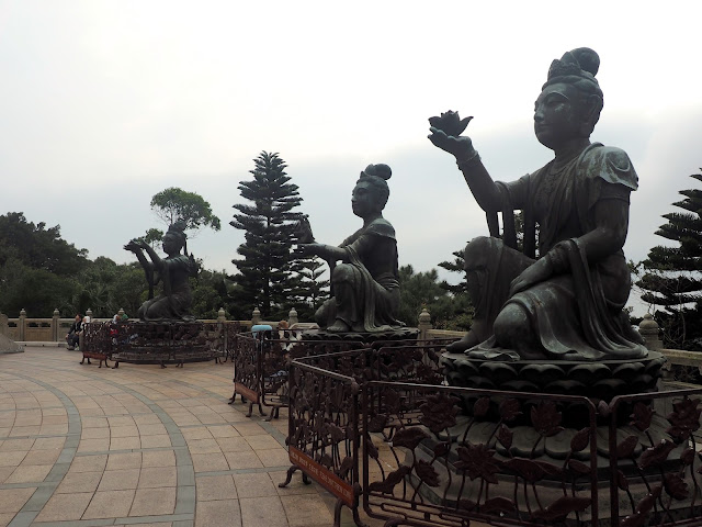Bodhissatva statues at the base of the Big Buddha/ Tian Tan Buddha, Ngong Ping, Lantau Island, Hong Kong
