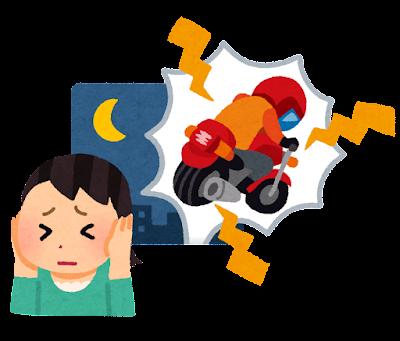バイクの騒音(夜)