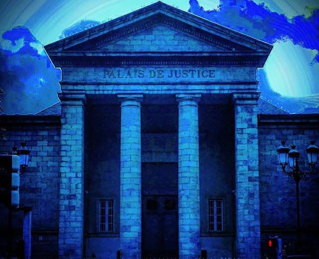 The front entrance of Palais de Justice  building in Quimper