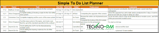 Simple To Do List in Excel