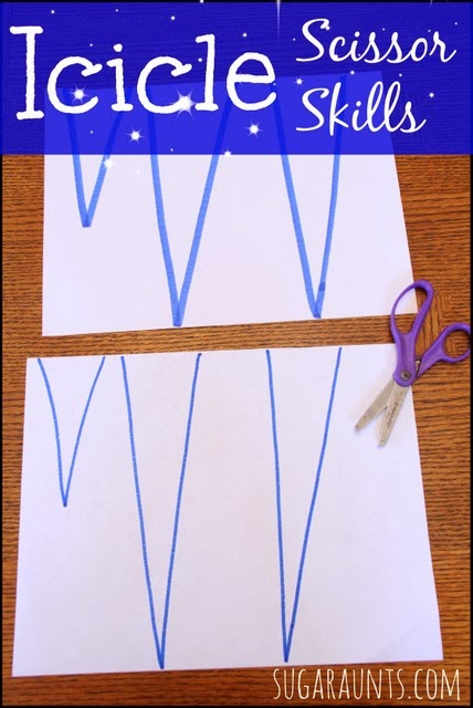 Icicle Craft Beginner Scissor Skills Activity
