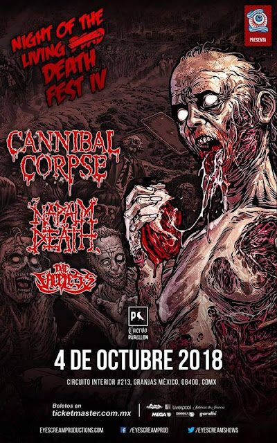 CANNIBAL CORPSE ENCABEZA  EL NIGHT OF THE LIVING DEATH FEST IV