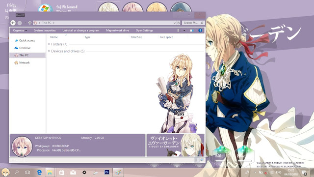 Windows 10 Ver. 1709 Theme Violet Evergarden by Enji Riz