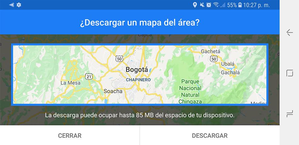 Cómo descargar mapas en Google Maps para usarlos sin conexión