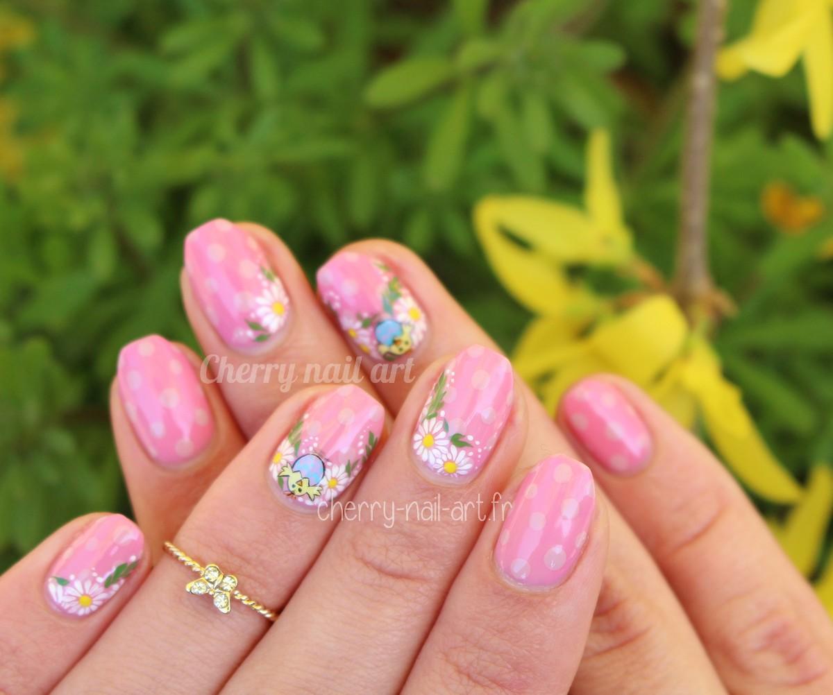 nail-art-paques-poussin-fleurs-pois