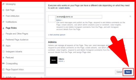 how to add admin to facebook page on iphone