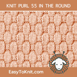 Puffy Basketweave Knit Purl, easy to knit in the round