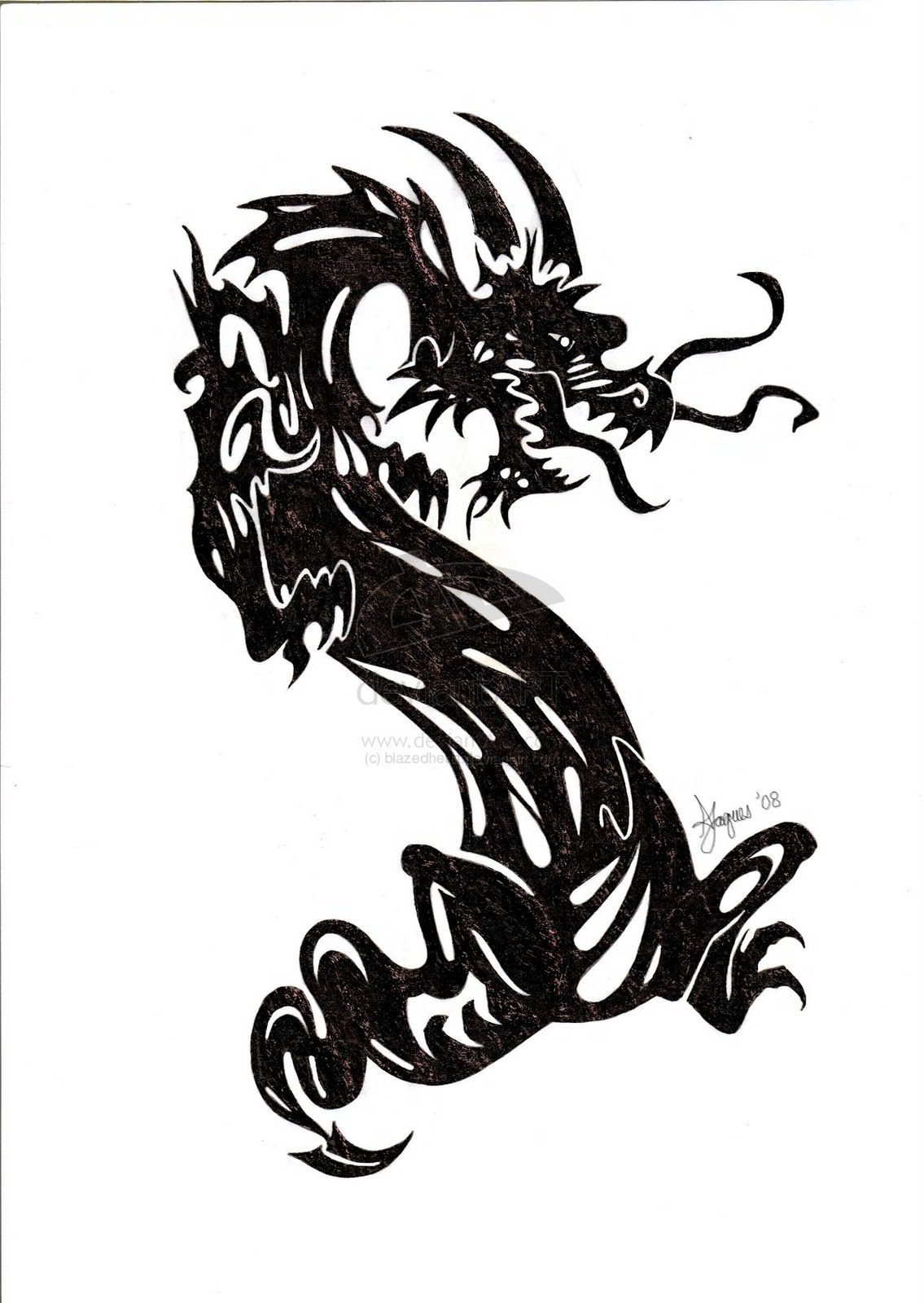 13 black tribal dragon tattoo designs 60 popular dragon tattoos with. Black Bedroom Furniture Sets. Home Design Ideas