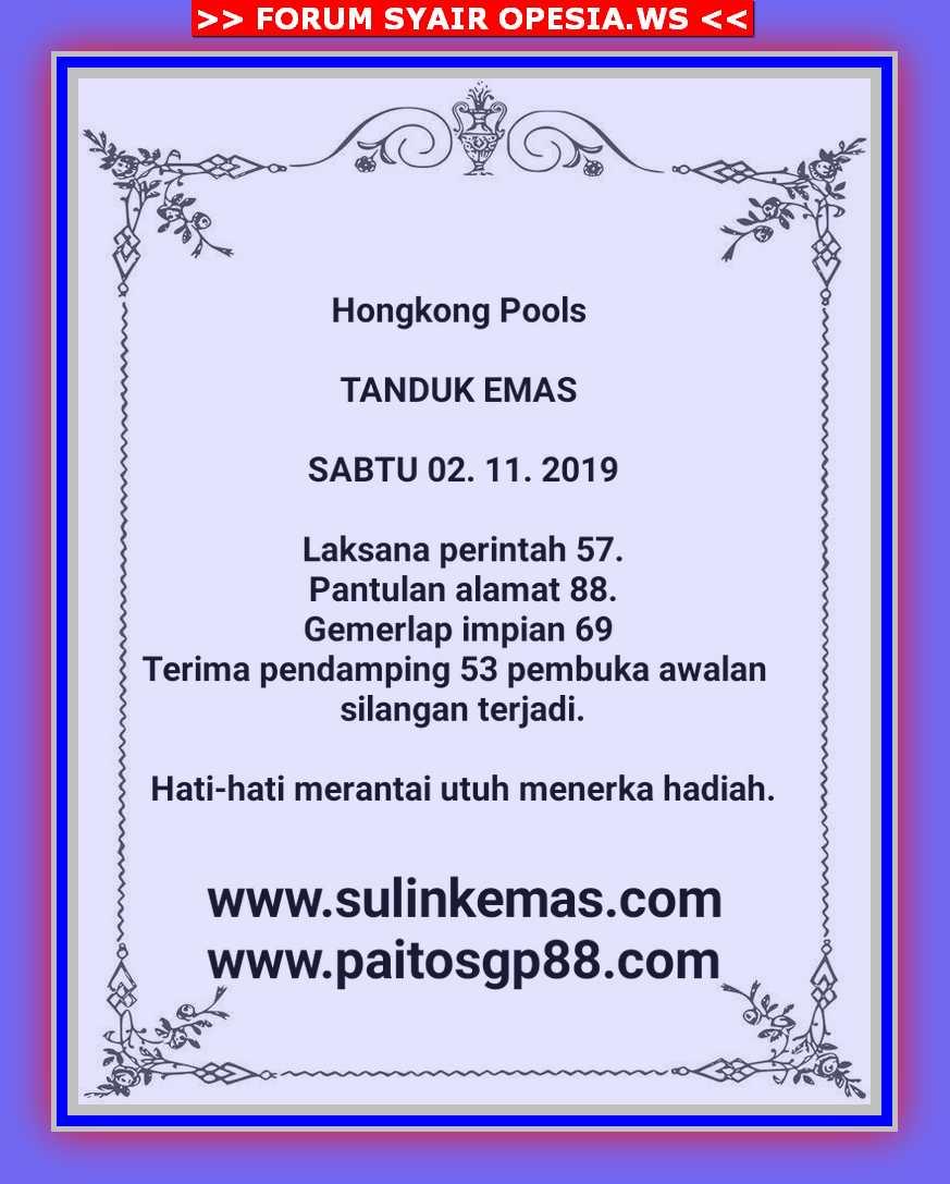 Kode syair Hongkong Sabtu 2 November 2019 2
