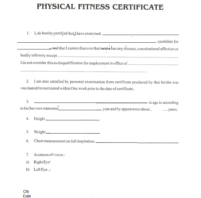Physical fitness certificate format for job best design physical fitness certificate tushar kapila storieedia yadclub Gallery