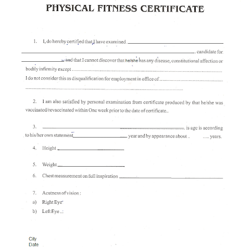 physical fitness form Employment Physical Form Template
