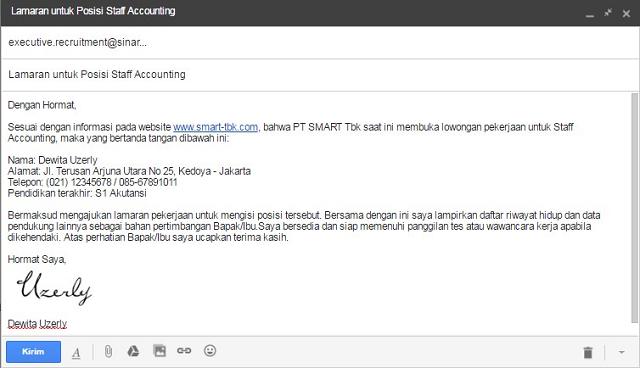 Membuat Surat Lamaran Kerja Via Email 2018 - Buat Email