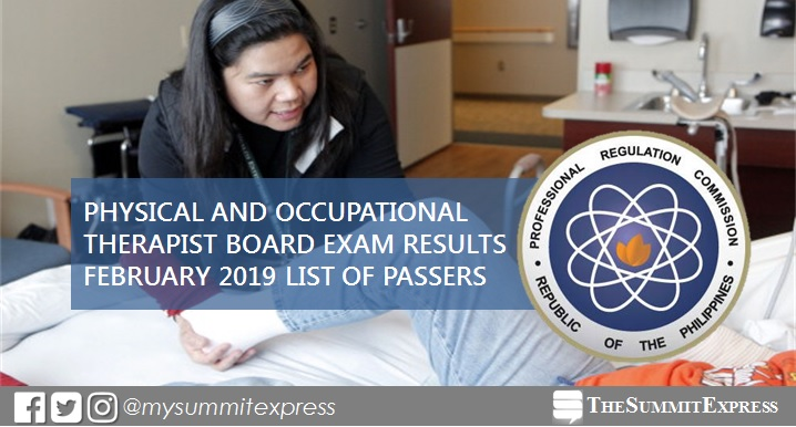 February 2019 Physical, Occupational Therapist PT-OT board exam list of passers