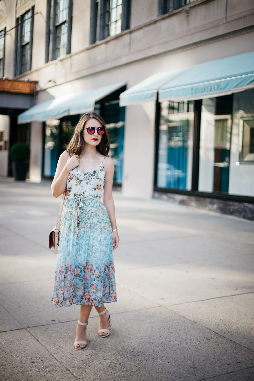 Pairing my favorite floral dress from Oasis with nude block heels for a chic yet comfortable look