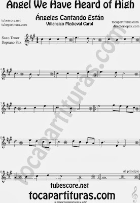 Partitura de para Saxofón Soprano y Saxo Tenor Villancico Christmas Carol Sheet Music for Soprano Sax and Tenor Saxophone Music Scores