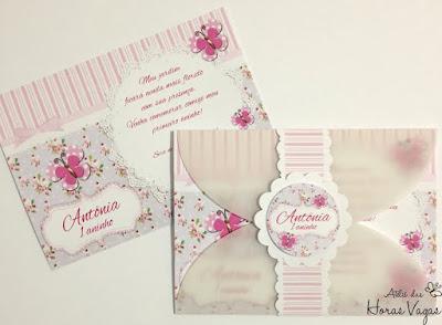 convite aniversário artesanal infantil personalizado jardim encantado borboletas provençal floral vintage lilás rosa chá de bebê 1 aninho festa menina delicado scrap scrapbook scrapfesta
