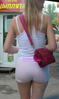 chica shorts transparentes