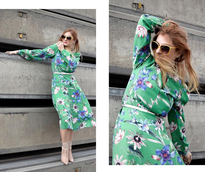 was trage ich als Frau über 40, grünes Kleid von H&M, Kleid mit Blumenmuster von H&M