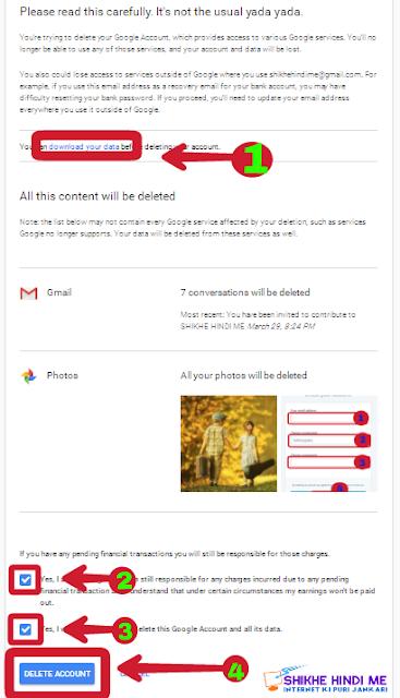 Gmail Account कैसे Delete करते है उसकी पूरी जानकारी - Shikhe hindi me