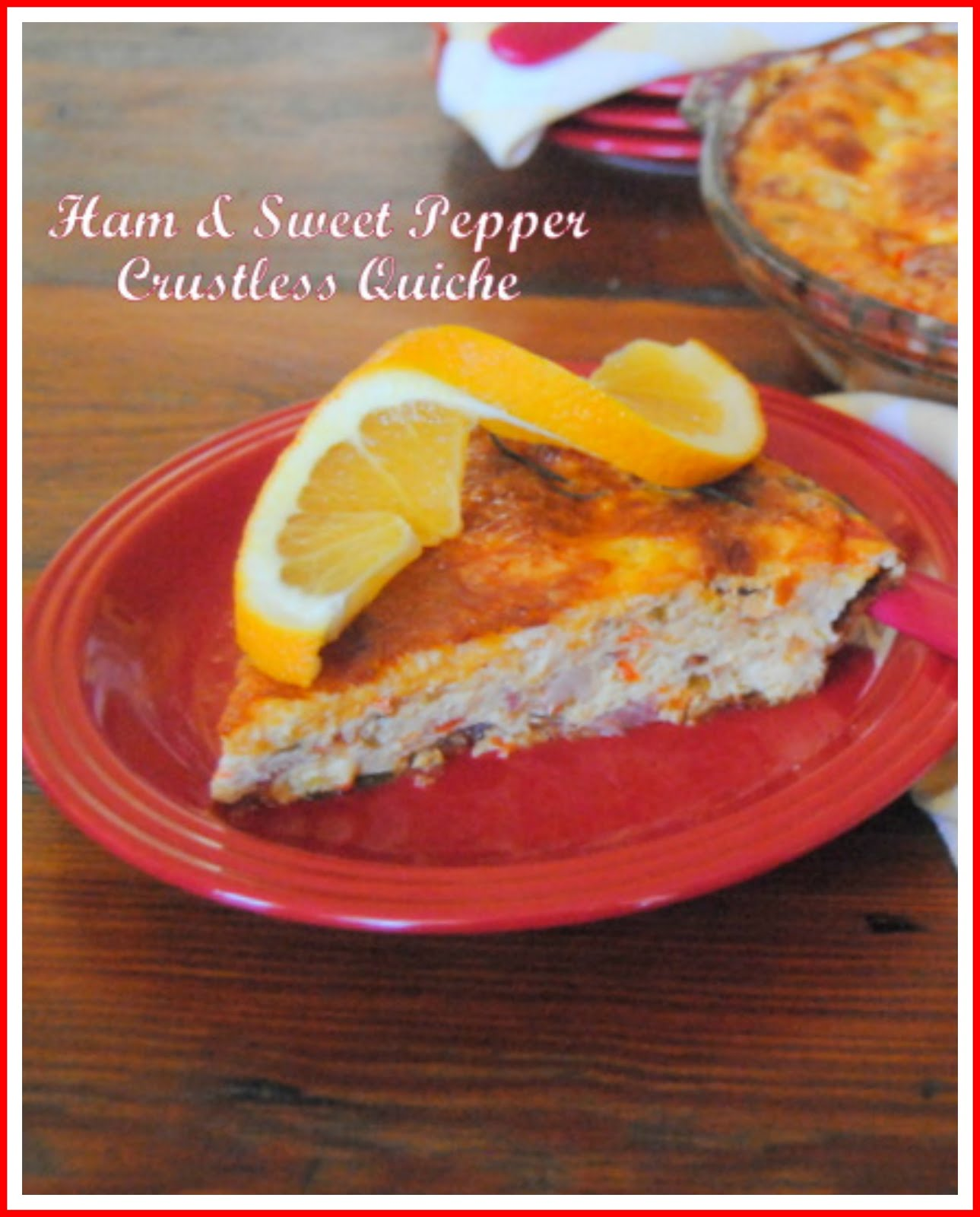 Ham and Sweet Peppers Crustless Quiche
