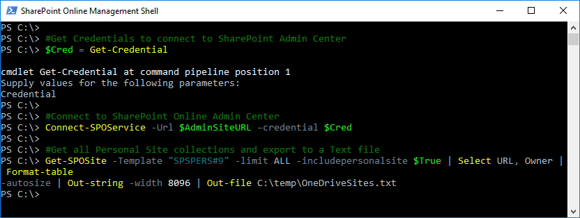 get all onedrive site collections using powershell