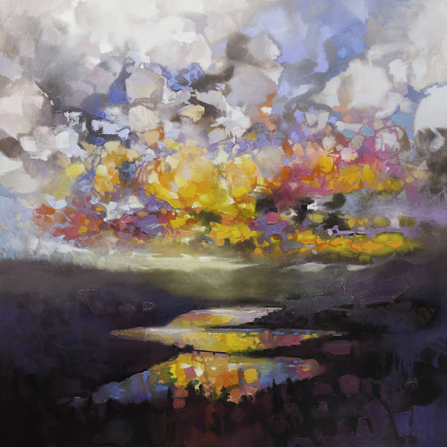 'Loch Garry Clouds', 150 x 150cm, minyak di linen