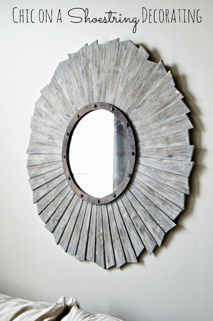 Chic on a Shoestring Decorating  living room makeover, Restoration Hardware style mirror