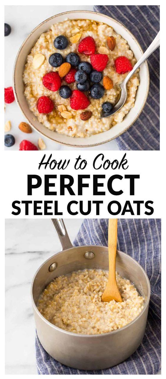How to cook steel cut oats. The secret to making perfect steel cut oatmeal on the stovetop that turns out delicious and creamy every time! Healthy and low calorie, this is the only oatmeal recipe you need. Simple, vegan, and high in fiber, steel cut oats keep you full all morning long. Easy to make ahead and great for any toppings you love like peanut butter, apple, and banana. #steelcutoats #healthy #vegan