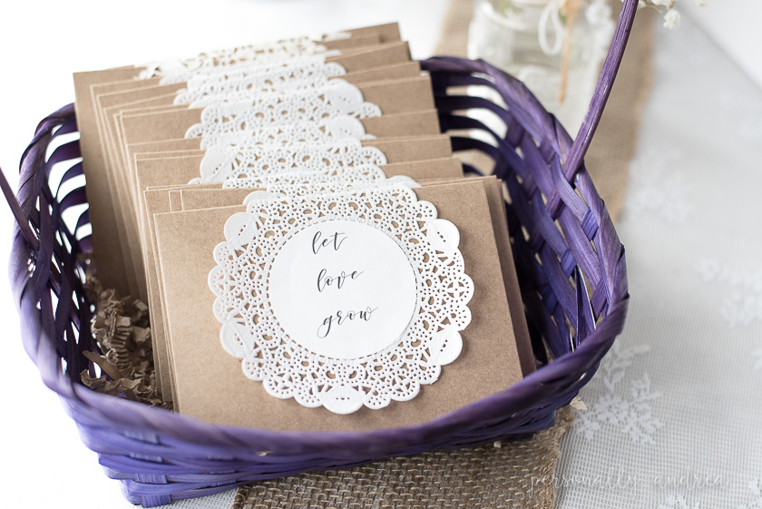 rustic and romantic spring bridal shower seed packet take home favors in kraft envelopes decorated