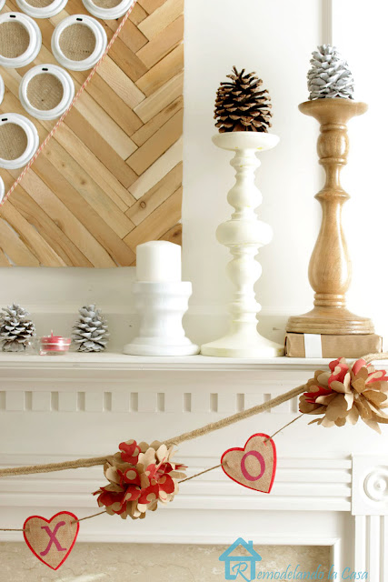 Rustic valentine mantel repurposing plastic cup lids and brown paper bags