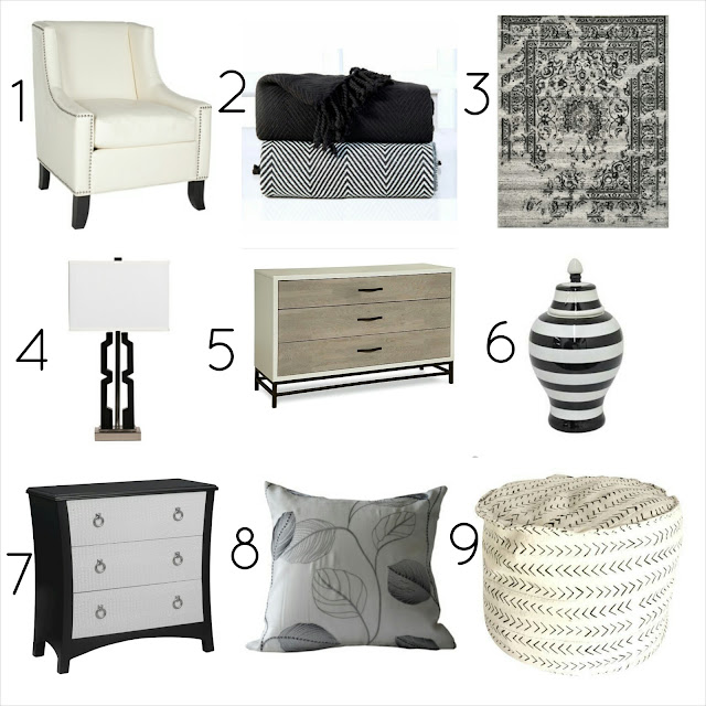 click list, black and white, decor, design, blog, blogger, interior design, decorate, decorating, diy, interiors, designer, jar, dresser, lamp, chair, club chair, safavieh, rug, valencia rug, throw, chest,