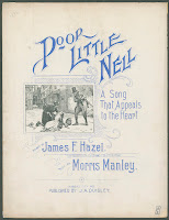 "A title page with blue text titled ""Poor Little Nell, A Song That Appeals to the Heart."" A small illustration shows two men looking over the reclining figure of a young girl."