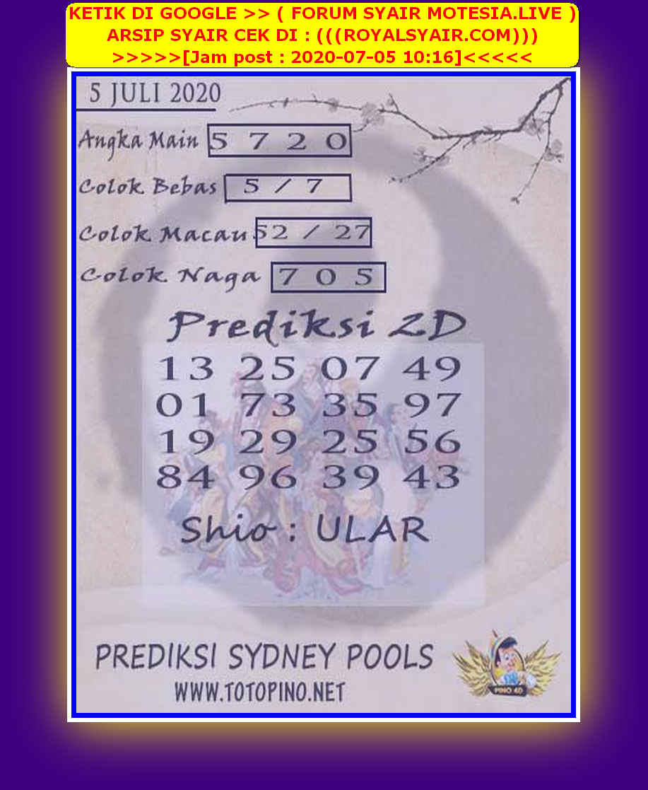 Kode syair Sydney Minggu 5 Juli 2020 144