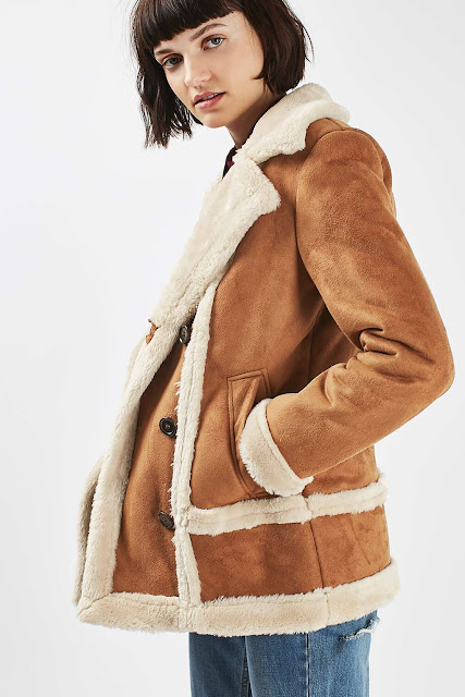 topshop shearling coat, tan shearling coat, faux shearling coat,