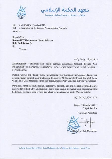 Contoh Surat Permohonan Kerjasama Pengangkutan Sampah