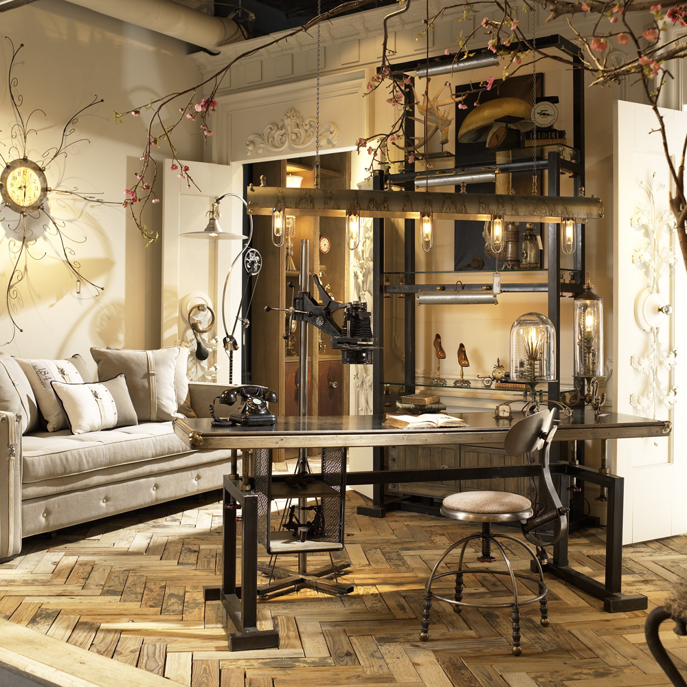 Harmony and home for Industrial chic living room